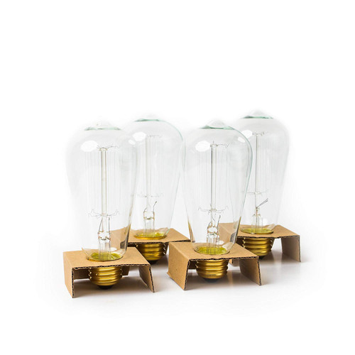 Edison Bulb Pack of 4 by Brillante - 360 Lumen / 60W Clear Glass Light Bulbs with Antique / Vintage Thomas Edison Style Filament - For Pendant Lighting, Lamps & String Lights