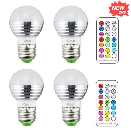 Rayh E26 Colored Light Bulbs 3W Color Changing Light Bulbs with Remote Control for Home Decoration / Bar / Party / KTV Mood Ambiance Lighting (Pack of 4)
