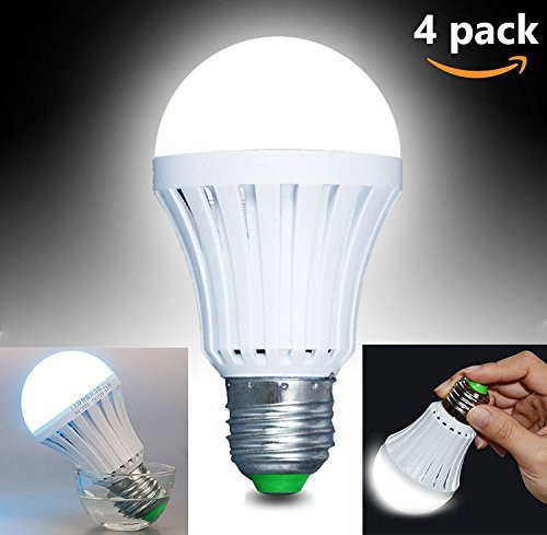 CTKcom LED Light Bulbs 5W(4 Pack)- Emergency Lamps Household Lighting Bulbs Human Body Induction,Saving Energy Intelligent Light Rechargable Electricity 60W Equivalent 6000k White Bulb120V E26/E27