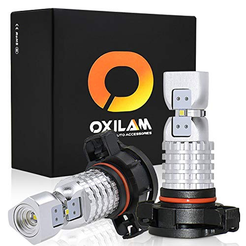 OXILAM 5202-LED Fog Light Bulbs Super Bright 2600 Lumens 2020SMD Chipset 5201 5202 H16 LED Bulbs Lamp Replacement for Fog-Lights or DRL 6000K Xenon White (2 Pack)