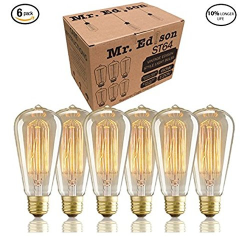 Vintage Edison Bulbs - NEW 100% SHATTERPROOF PACKAGING - 60w Dimmable Hand Crafted Industrial Pendant Filament Light Bulbs - Antique Style Design for Wall Sconces, Ceiling Fans, Chandeliers - 6 Pack