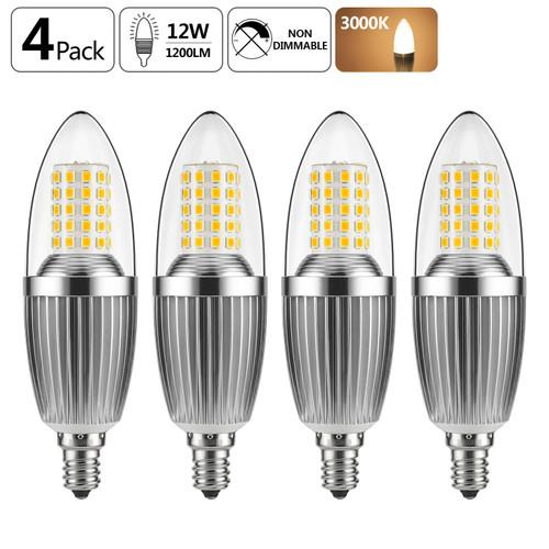 GEZEE  LED Candelabra Bulb, Non-Dimmable 100-Watt Light Bulbs Equivalent, 12W LED Candle Bulbs,Warm White 3000K Chandelier Bulbs, E12 Candelabra Base, 120V, 1200Lumens, Torpedo Shape(4 Pack)