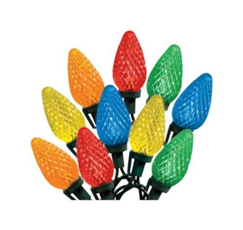 Celebrations 47736-71 Indoor/Outdoor C9 LED Multi-Color Light Bulbs On A Reel, 49', 75 Bulbs