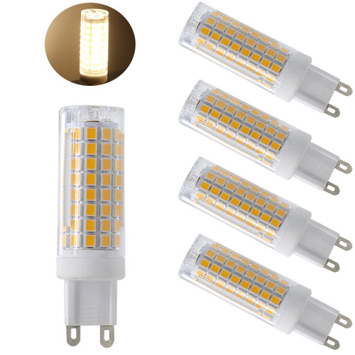 Ulight G9 led light bulbs 75W 100W replacement, halogen bulbs equivalent 850lm, Dimmable g9 led bulbs AC110V 120V 130 voltage Input, warm white pack of 4 (Warm White 3000K)