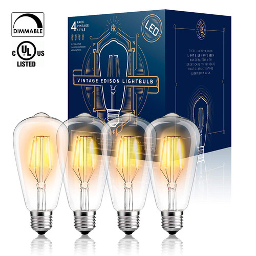 Edison LED Light Bulb Dimmable - UL Listed - 4 W ST64 Warm Color 2300K - E26 Medium Base (4 PACK) - LED Vintage Style Filament Light Bulbs (Indoor or Outdoor)