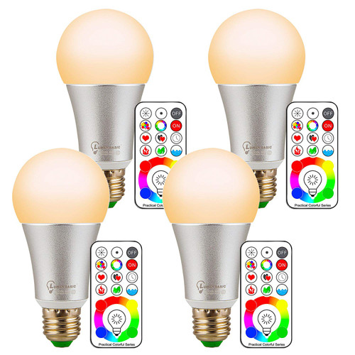 LumenBasic 60 Watt Color Changing Light Bulbs RGB with Warm White E27 with Remote Control and Wall Switch Control Dimmable RGBWW 10w MultiColor Bedroom Lights Color and Decoration