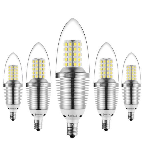Bogao (5 Pack) LED Candelabra Bulb, 12W Daylight LED Candle Bulbs, 85-100 Watt Light Bulbs Equivalent, E12 Candelabra Base,1200 Lumens LED Lights,Torpedo Shape White 6000K