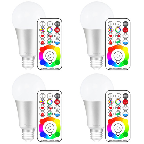 Yangcsl E26 Dimmable Color Changing LED Light Bulbs with Remote Control, Memory & 3-Way, Warm White & RGB Multi Color, 60 Watt Equivalent (4 Pack)