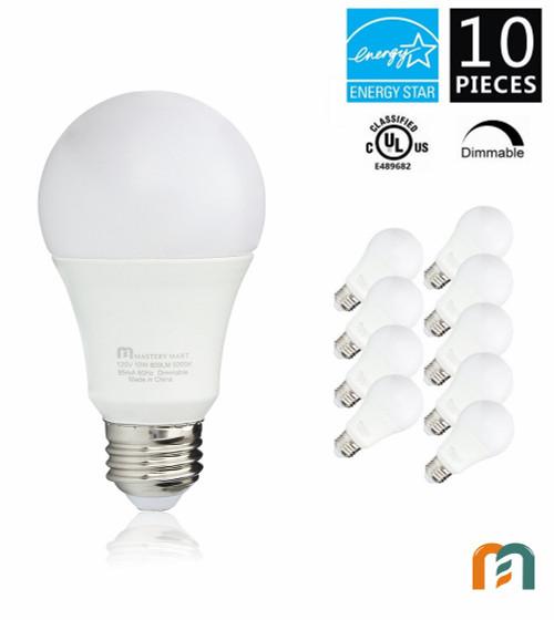 Led Light Bulbs 10 Watt [60 Watt Equivalent], A19 - E26 Dimmable, 5000K Daylight, 800 Lumens, Medium Screw Base, Energy Star, UL Listed by Mastery Mart (Pack of 10)