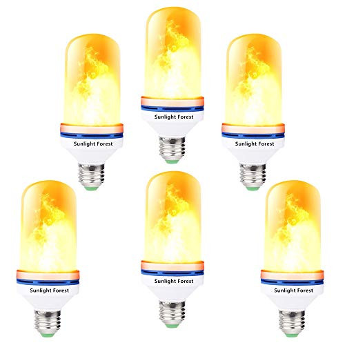 OMK - LED Flame Effect Fire Light Bulbs - Newest Upgraded 4 Modes Orange Flickering Fire Simulated Lamps - E26 Base LED Bulb - 6W Energy Efficient Fire Lights for Indoor/Outdoor Decoration (6Pack)