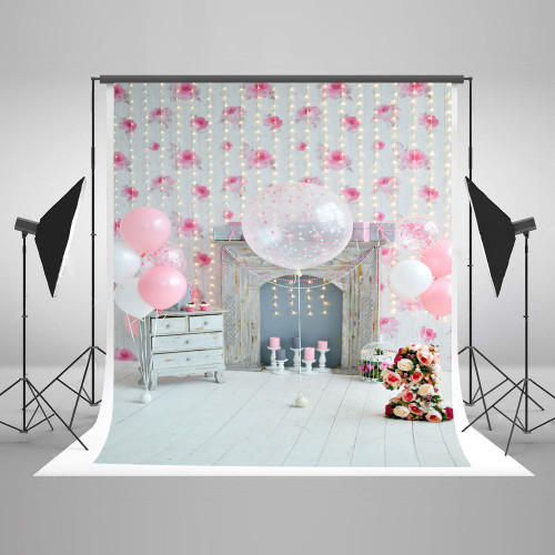 Kate 5x7ft Photography Backdrops Balloons Flowers Presents and Candles White Wall Shining Little Light Bulbs Backgrounds for Children Birthday Party Celebration J04975