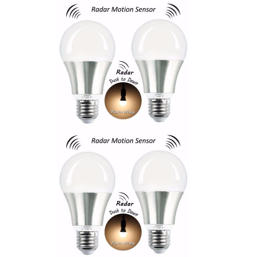 LUXON Motion Sensor Light Bulb 7W Smart Bulb Radar Dusk to Dawn LED Motion Sensor Light Bulbs E26 Base Indoor Sensor Night Lights Soft White 2700K Outdoor Motion Sensor Bulb Auto On/Off (Pack of 4)