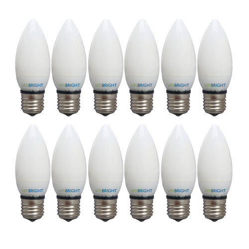 Viribright 753638 B10 3.2 Watt LED Candle E26 Base 4000K, 40W Equivalent 300lm Light Bulbs 300 Degree Beam Angle Dimmable for Home, Pack of 12, Cool White, 12 Piece