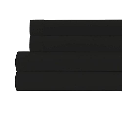 MISR LINEN 400 Thread Count 100% Egyptian Cotton 15 Inches Deep Pocket Sheet Set, 4 Piece Set (Black, Twin)