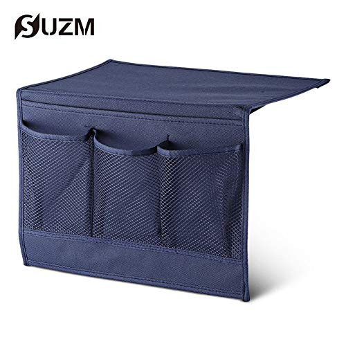 """SUZM Bedside Storage Organizer for Sofa Armchair Caddy Pocket Holds Water Bottles, Books, Magazines, Phone, TV Remote Control 4 Pockets Navy Blue 13""""x 10"""""""
