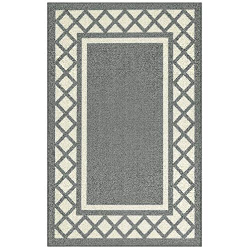 Maples Rugs Kitchen Bella 2\'6 x 3\'10 Non Skid Washable Throw Rugs [Made in  USA] for Entryway and Bedroom Light Brown/Neutral