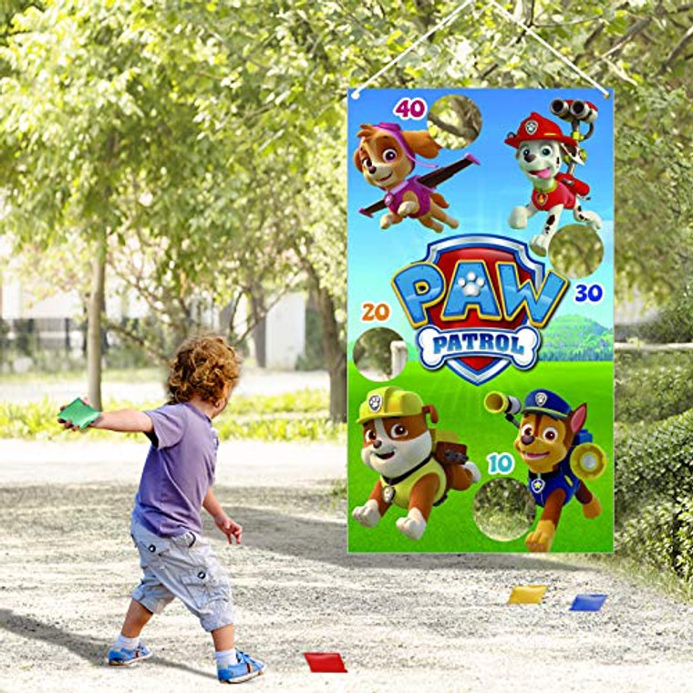 RUIJIA Paw Patrol Toss Games with 4 Bean Bags Paw Patrol Party Games Fun Indoor Outdoor Games?Kids Birthday Party Decoration Supplies