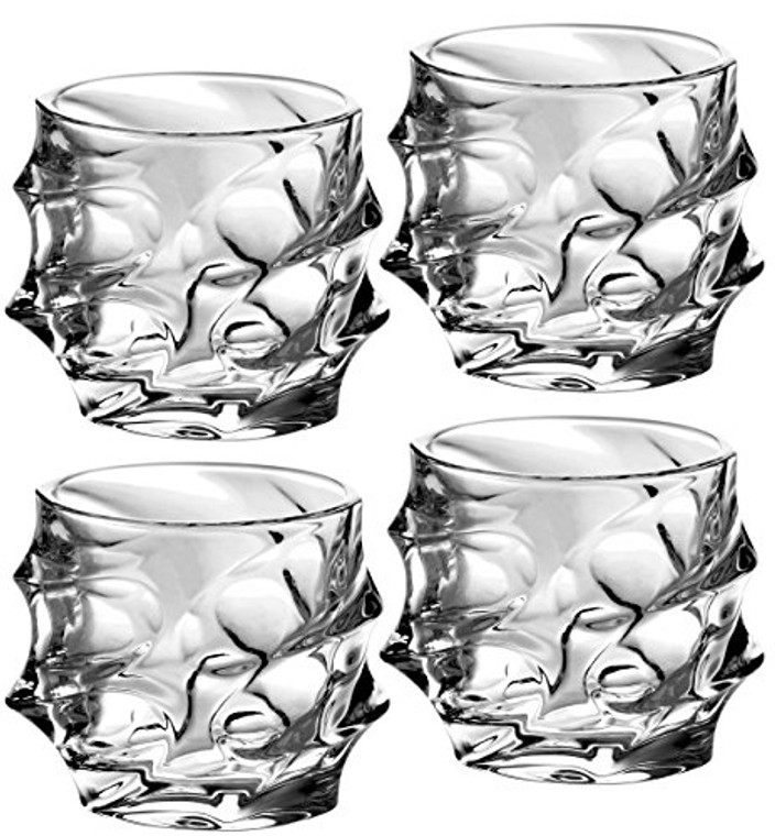 Amlong Crystal Lead Free Double Old Fashioned Crystal Glass, 11 Ounce, Set of 4