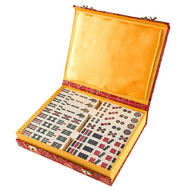 Hey! Play! Chinese Mahjong Game Set with 146 Tiles Dice & Ornate Storage Case