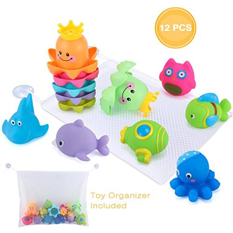 Glonova Bath Toys, 13 Pcs Bath Toy Set with Organizer, Stacking Cups & Squirting Bath Toys Animals for Indoor Outdoor Beach Fun Bathtub Fun Toys