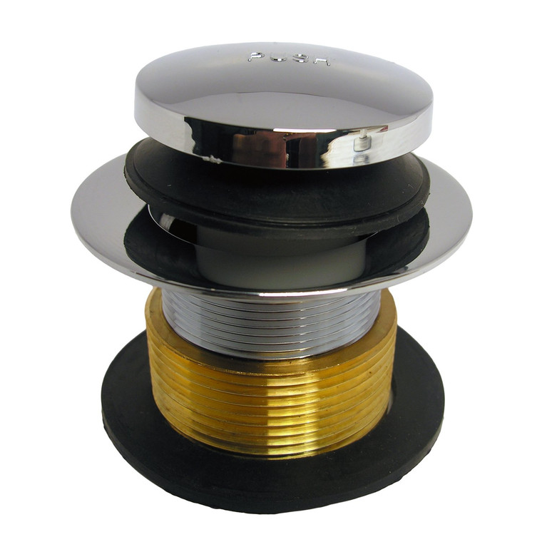 LASCO 03-4809 Brass Bathtub Drain Strainer with Tip Toe Style Stopper and 1-1/4-Inch Fine Thread x 1-1/2-Inch Course Thread Bushing, Chrome Plated