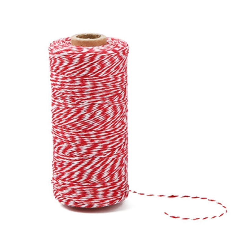 100 M/328 Feet Durable Cotton Baker's Twine String, Heavy Duty Packing Bakers Twine for Gardening Applications(Red and White)