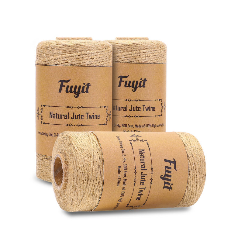 Natural Jute Twine 2mm 900 Feet Fuyit Twine String for DIY Artworks Crafts Gift Wrapping Picture display and Gardening Decoraction 3 Rolls (3)