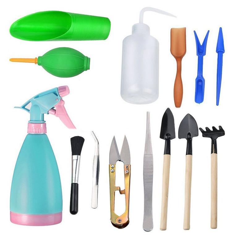 14Pcs Mini Garden Tools Set,Succulent Transplanting Miniature Fairy Garden Planting Gardening Hand Tools Set Include Pruner, Mini Rake, transplanters etc(Color Random)