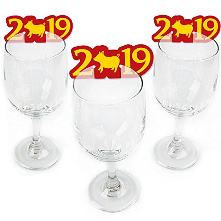 Chinese New Year - Shaped 2019 Year of The Pig Wine Glass Markers - Set of 24