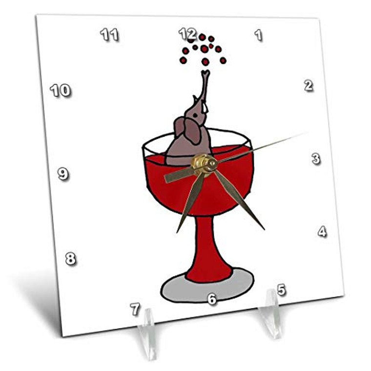 3dRose dc_200146_1 Funny Elephantin Red Wine Glass Desk Clock, 6 by 6-Inch
