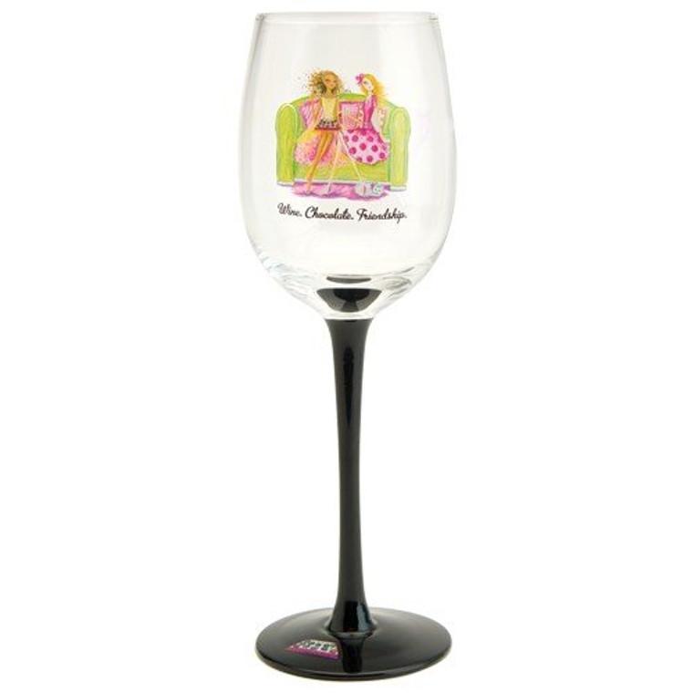 Santa Barbara Design Studio WIN15-1815F Decorative Wine Glass by artist Bella Pilar, Wine Chocolate Friendship