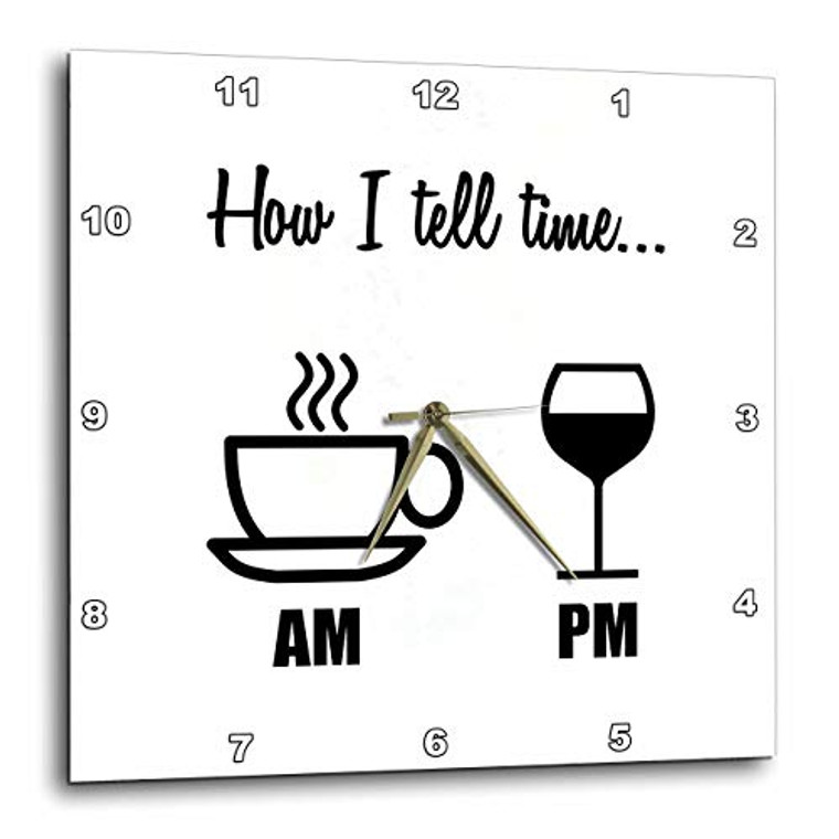 3dRose 3D Rose How I Tell TIME… Coffee Cup AM, Wine Glass PM-Wall Clock, 13-inch (DPP_224611_2)