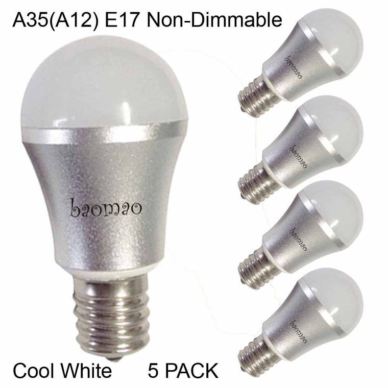 Baomao A35 LED Bulb, Base E17 3W, Daylight White 5500K, LED Candle Bulbs, 25 Watt Light Bulbs Equivalent Incandescent,Non-dimmable, 270 Lumens LED Lights, Chandelier, Sliver 5 Pack
