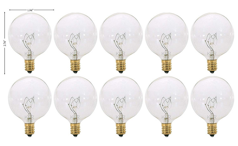 (Pack of 10) 40 Watt Clear G16.5 Decorative (E12) Candelabra Base Globe Shape 120V 40G16 1/2 Light Bulbs 40G16