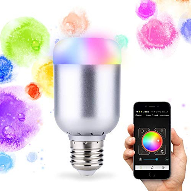 Decoroom Led RGB Light Bulbs Bluetooth Smart Light Bulb Dimmable Multi Color Light Bulbs with Remote Control 70W Equivalent Ambient Light Timer Night Lamp Sleep Light Compatible with Alexa Assistant