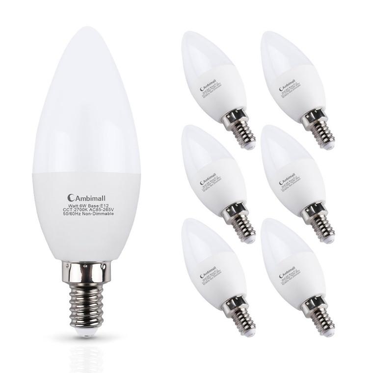 E12 LED Bulb 60Watts, Ambimall 6 Watt LED Candelabra Bulb Warm White 2700K 600Lumens Chandelier B11 LED Light Bulbs Non Dimmable for Ceiling Fan(6 Pack)