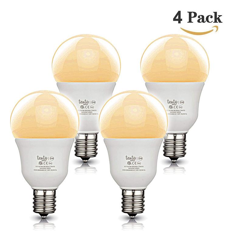 E17 Globe 40 w Bulb G40 40w Incandescent Bulbs Replacement Warm White Intermediate Base E17 Light Bulbs Pack of 4 Slender G14 LED Bulb for Ceiling Fan, Headboard Reading Light, Intermediate E17 Base