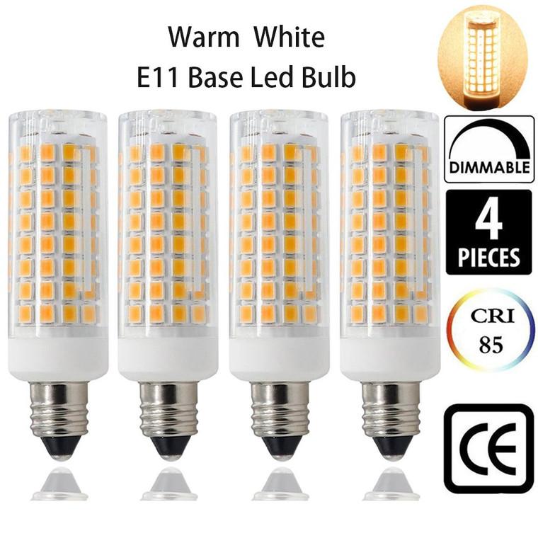 E11 LED Light Bulbs All NEW(102-LEDs) Mini Candelabra Base Bulb,Warm White 3000K,120 Volt,75W or 100W Equivalent Halogen Replacement Lights 850 Lumens, Replaces T3/T4 JD E11 Halogen Bulb 4-pack