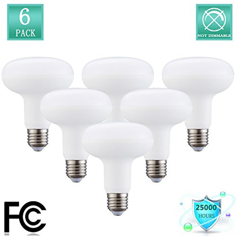 BR30 Bulb 12W LED Light Bulbs (120W Equivalent), R30 - E26 Wide Flood Light Bulb, Medium Screw Base, 1320 Lumens 120 Beam angle,120 Volt Indoor/Outdoor, Non-Dimmable, Daylight (5000K) (Pack of 6)