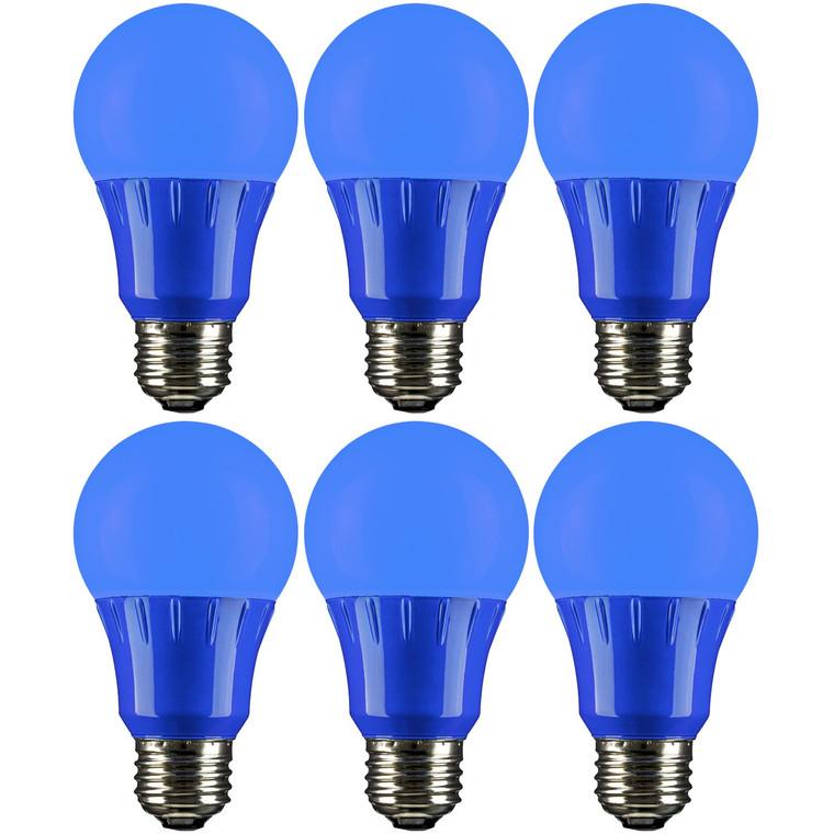 Sunlite A19/3W/B/LED/6PK LED Colored A19 3W Light Bulbs with Medium (E26) Base (6 Pack), Blue