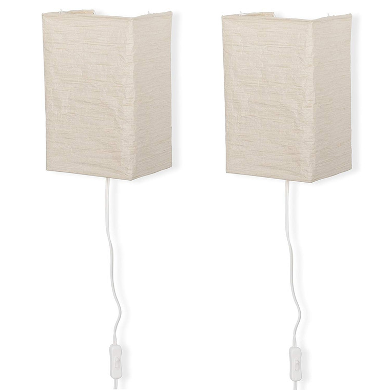 Rice Paper Wall Mount Lamp Sconce with Toggle Switch Chandelier Light Bulbs Included Cream Set of 2