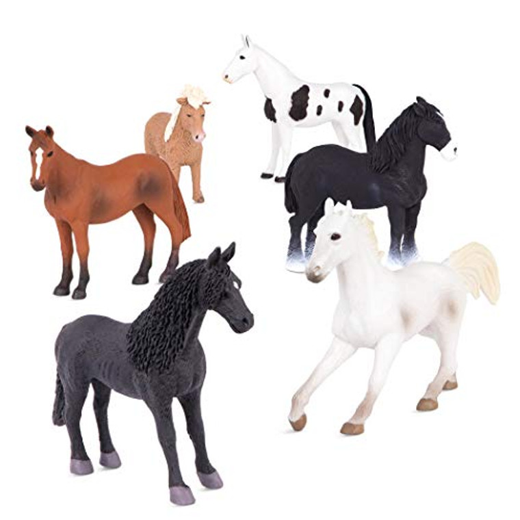 Terra by Battat – Horses Set – Detailed Miniature Horse Toys and Farm Animals with Quarter Horse for Kids 3+ (6 pc)