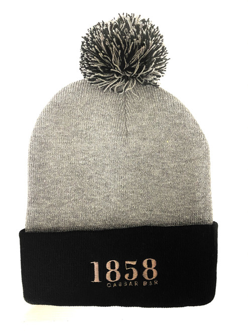 Grey Toque with a Black Brim & pom pom