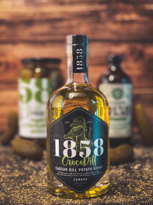Introducing the 1858 CrocoDill, a Caesar Dill Potato Vodka. Freshly infused with dill brine, and farm picked potatoes, giving you a zesty smooth finish. This aromatic vodka will make your tasting notes brighter, more vibrant, and give you the perfect Caesar every time.