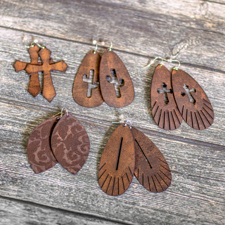 Vintage Leather Earrings