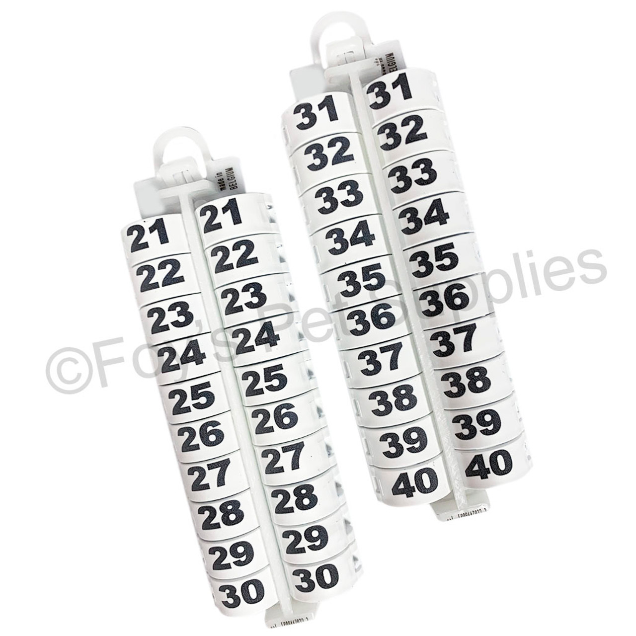E-Z Lockringswith Numbers 21 - 40 (16 MM)