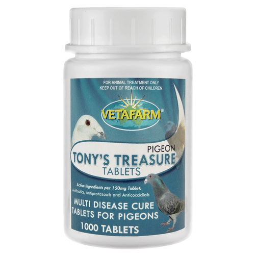 Tony's Treasure Tablet for respiratory disease, canker, sinusitis, air saccultis, enteritis, diarrhea and weight loss.