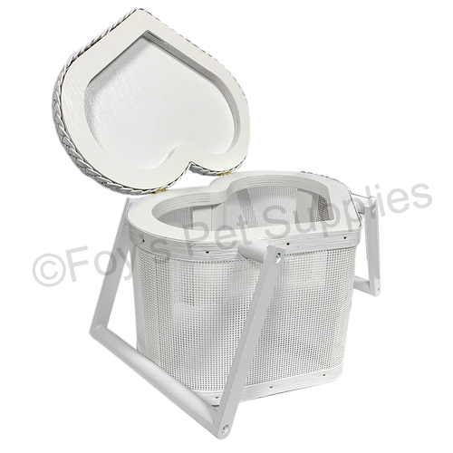 Mesh Heart Basket - White/Large