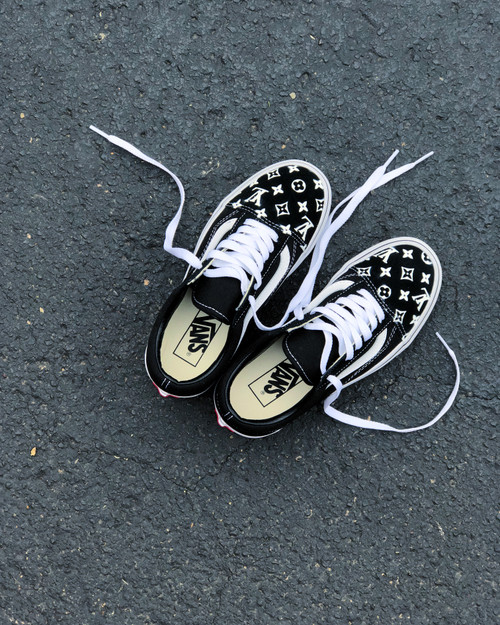 Black LV Old Skool Custom Vans