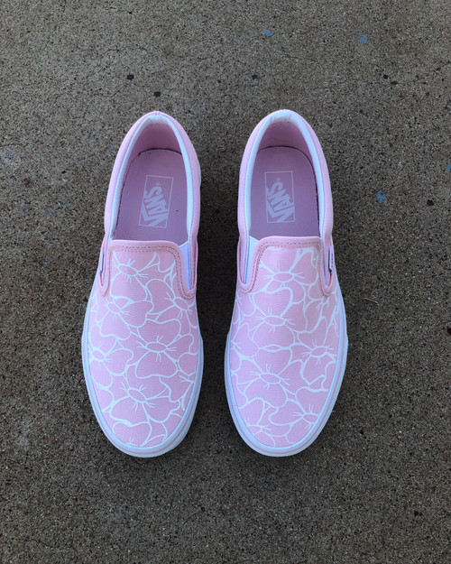 Pink Busy Birdy Slip on Vans